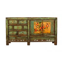 Buffet multicolore en pin massif Chaiya