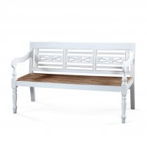 Banc en teck naturel et blanc GM  JAVA