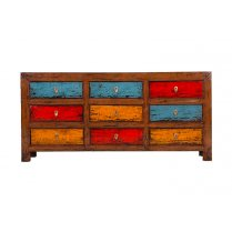 BUFFET MULTICOLORE EN PIN MASSIF 9 TIROIRS SAWAN