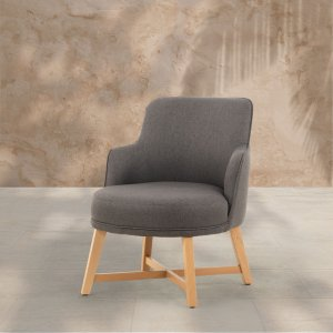 Fauteuil style scandinave en tissu gris anthracite ROMUY