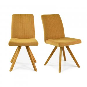 Lot de 2 chaises scandinaves en tissu moutarde CLETTON
