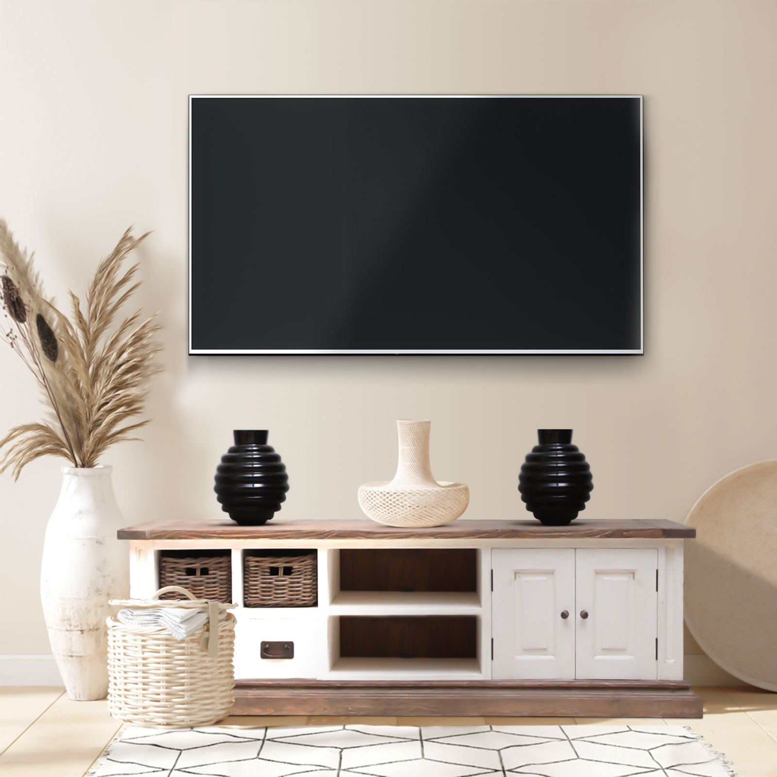 meuble tv pin massif blanc. Black Bedroom Furniture Sets. Home Design Ideas