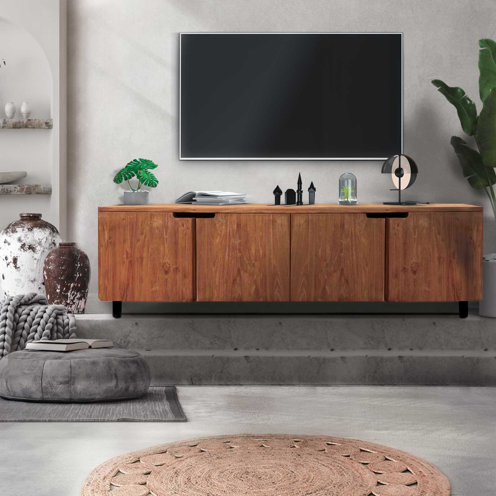 meuble tv vintage merapi meuble tv teck massif. Black Bedroom Furniture Sets. Home Design Ideas